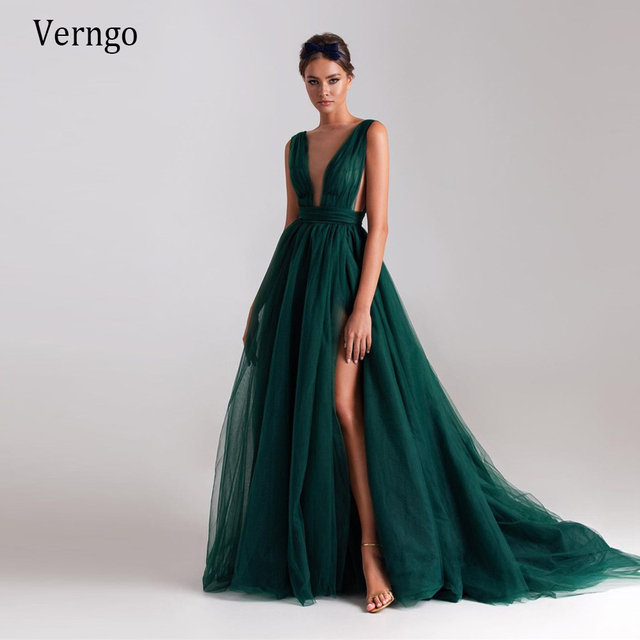 Verngo Modern Dark Green Tulle A Line Long Evening Dresses Sheer Neck High Side Slit Sexy Prom Gowns Women Special Occasion Wear 1