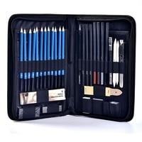 40Pcs 스케치 연필 세트 아티스트 드로잉 키트 연필 케이스와 연필 깎이 미술 용품 학생 화가