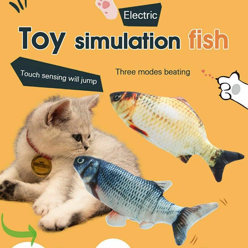 Eléctrico gato moviendo pescado realista de peluche de juguete, Catnip menta juguetes masticar morder juguetes no tóxicos TT-mejor