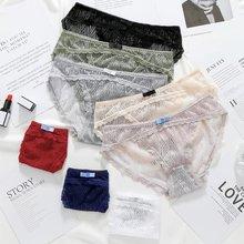 Women Lace Transparent Panties Briefs Womens Jacquard Net Underwear Mesh Yarn Drop Ship
