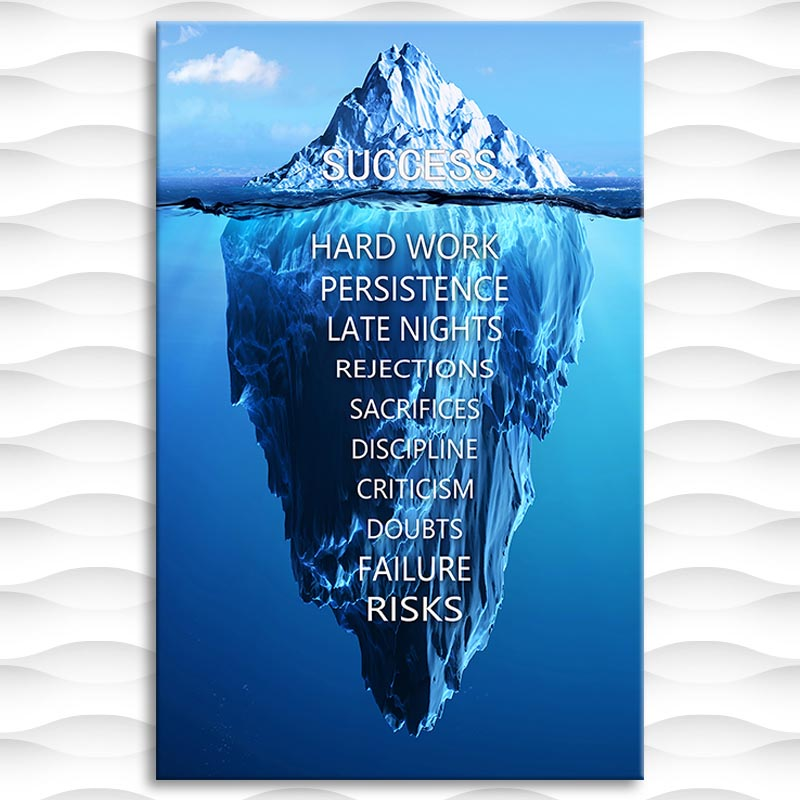 Canvas Painting Tip of The Iceberg Success Posters and Prints Wall Art Motivational Phrase Picture for Living Room Decor No Fram