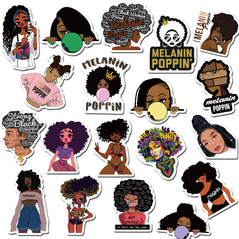 50PCS Fashion Inspirational Melanin Poppin Black Girl Sticker For DIY Luggage Laptop Skateboard Motorcycle Decal Stickers