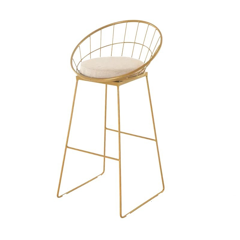 Europe Bar Counter Chair Originality Metal Clematis   Concise   Golden High Footstool Modern Iron Dining