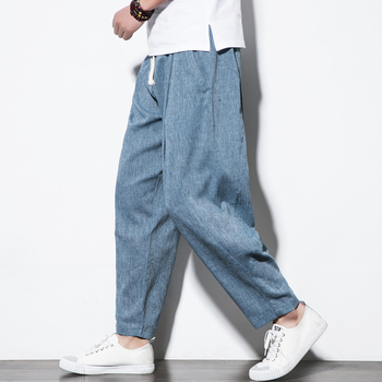 5XL Plus Size Cotton Linen Harem Pants Mens Jogger Pants 2019 Male Casual Summer Track Pants Trousers Y2077