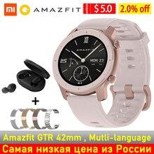 Глобальная версия Amazfit GTR 42 мм Смарт часы 42 женской обуви для мужчин SmartWatch активно матричные осид дисплеем 5ATM GPS и ГЛОНАСС BT5.0 для Xiaomi телефон IOS