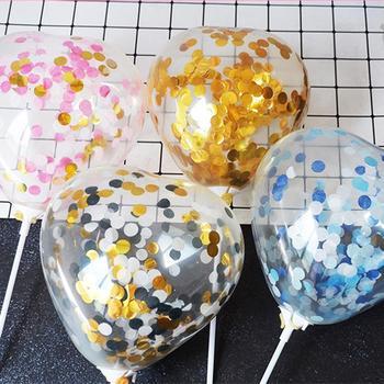 5 pulgadas corazón confeti globo torta Topper decoración con papel paja cinta Mesa bebé ducha cumpleaños fiesta suministros