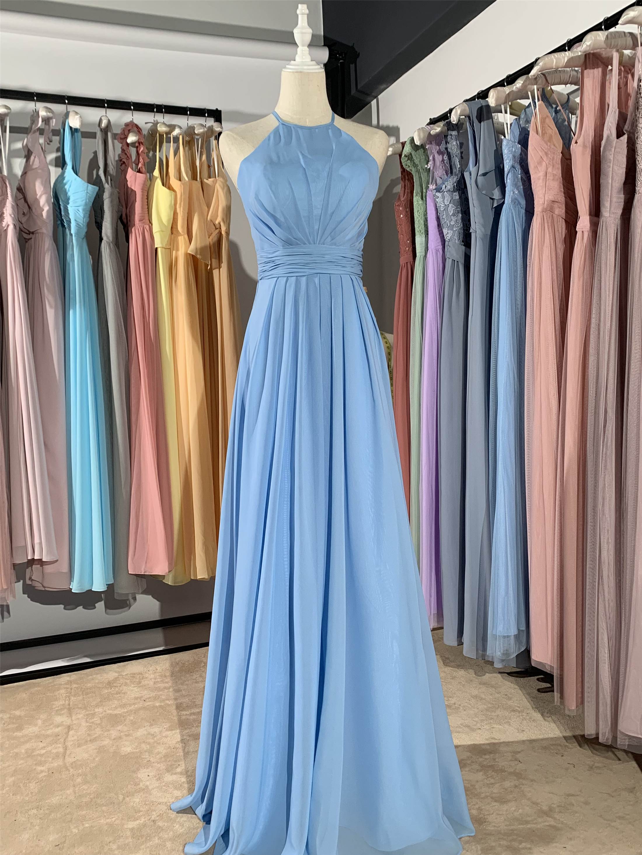 2019 New Different Color Sky Blue Long Small Neck Luckgirls  Chiffon Customizable Fashion Bridesmaid Dress Mocini Tailor