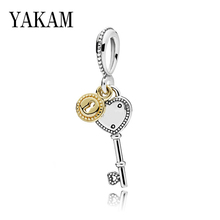 цена на Love Lucky key Charms 925 Pendant for Necklace Fit Original Pandora Bracelet Accessories Beads for Women Jewelry New Years Gifts