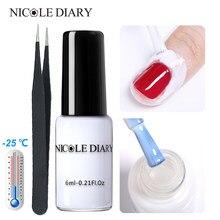Nicole diário anti-congelamento descasque fora unha polonês proteção fácil limpo rápido dedo pele fita líquida ferramenta de cuidados com as unhas pinça