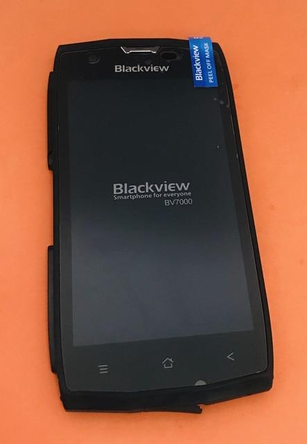 مستعملة الأصلي شاشة الكريستال السائل محول الأرقام شاشة تعمل باللمس الإطار ل Blackview BV7000 MT6737T رباعية النواة شحن مجاني