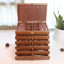 Neue Sechs-schicht Schmuck Box Juwelier Holz Handwerk Box Große Kapazität Prinzessin Europäischen Stil Lagerung Schmuck Organizer Geschenk Box