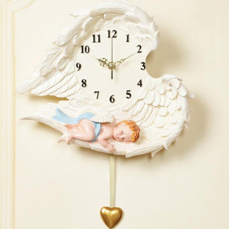 Horloge murale ange amour muet résine artisanat à la main cadeaux décorations pour la maison peinture décorative rétro LB102312