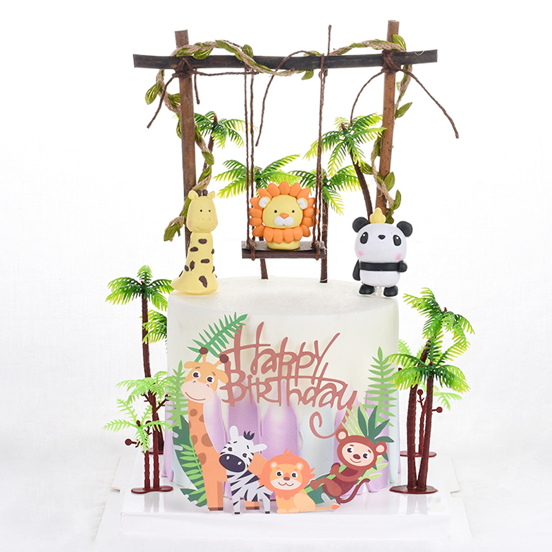 Cakelove Wood Swing Animals Decoration Leaf String Felt Tree Bee Cake Topper For Kid Birthday Party Supplies Baking Lovely Gifts