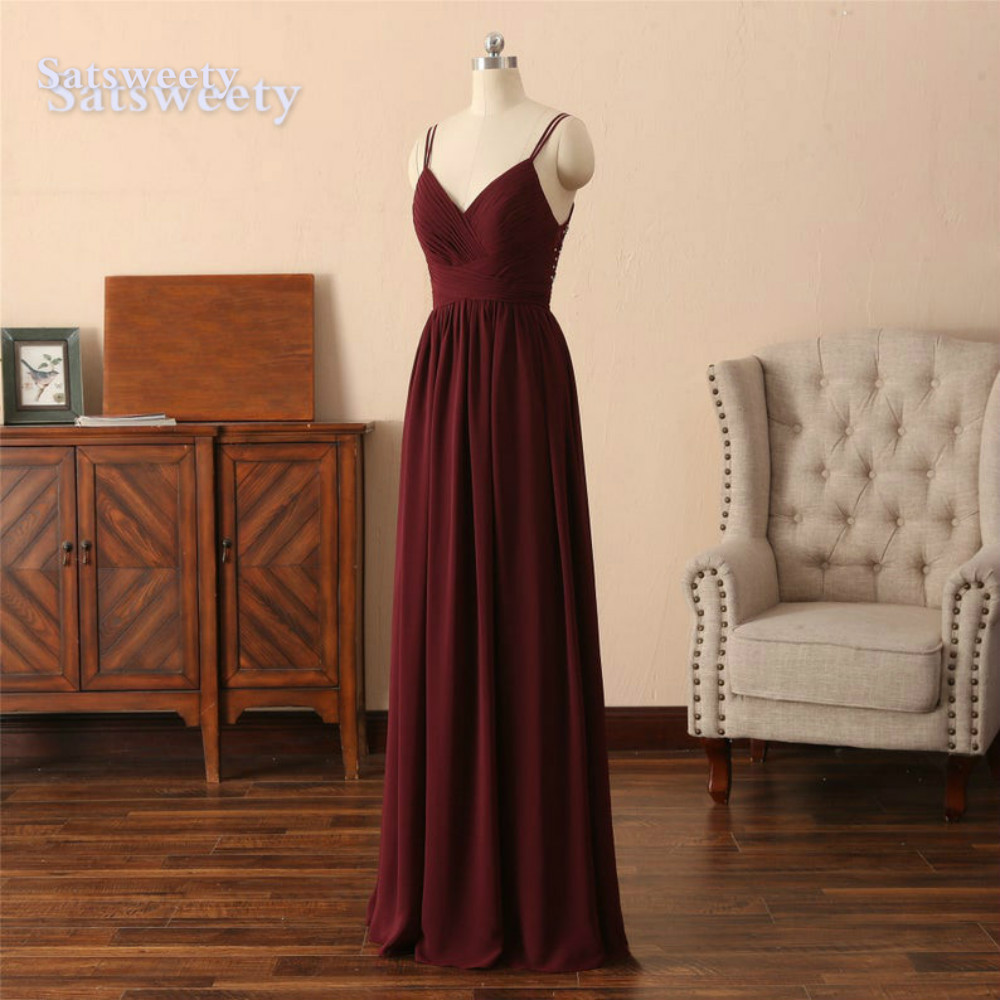 vestido madrinha Burgundy Bridesmaid Dresses Long Chiffon Backless Floor Length wedding party dress robe demoiselle d'honneur
