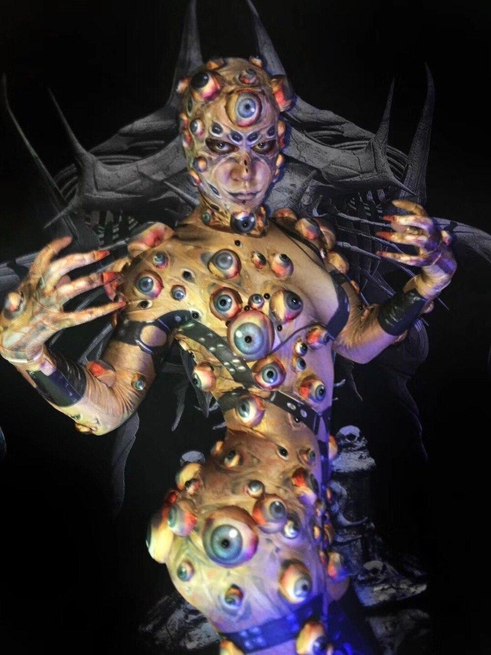 Halloween Printed Eyeball Stretch Jumpsuit Evening Party Bodysuit Nightclub Cosplay Leggings Women Or Men's DJ Singer Jumpsuit