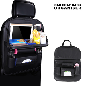 Image 2 - New PU Leather Car Seat Back Bag Folding Table Organizer Pad Storage Pocket Box Travel Stowing Tidying Automobile Accessories