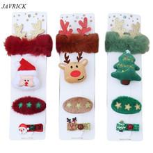 4 sztuk zestaw choinka święty mikołaj Deer opaska do włosów klip broszka Pin śliczny nowy rok świąteczny prezent dla dziewczynek tanie tanio JAVRICK CN (pochodzenie) Brak BROSZKI Hair Band Clip Brooch Pin moda Kobiety