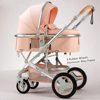 Belecoo Lightweight Luxury Baby Stroller 3 in 1 Portable High Landscape Reversible Hot Mom Pink Travel Pram