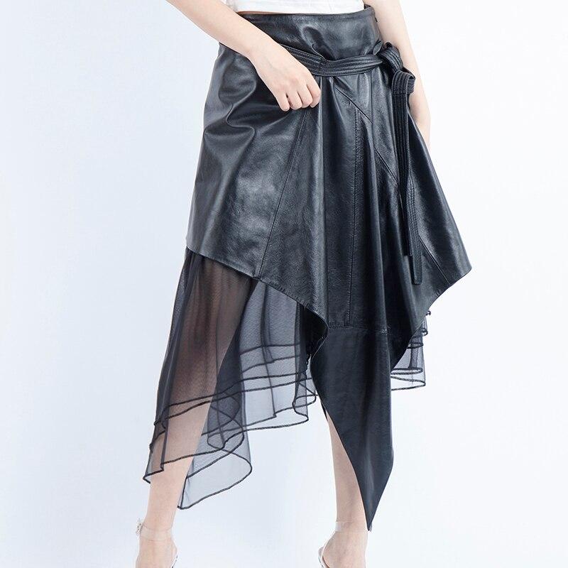 Skirt Faldas Sheepskin Tulle Black Korean-Style Long Gothic Womens Plus-Size Moda Streetwear