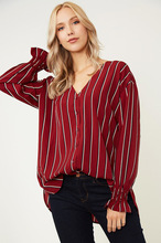 New Maternity Shirt Autumn Striped V-neck Long Sleeve Loose See Through Top Women Sexy Tops Wear