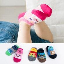 Милые Нескользящие нескользящие носки для малышей Детские короткие носки с героями мультфильмов на осень и зиму махровые носки детские носки