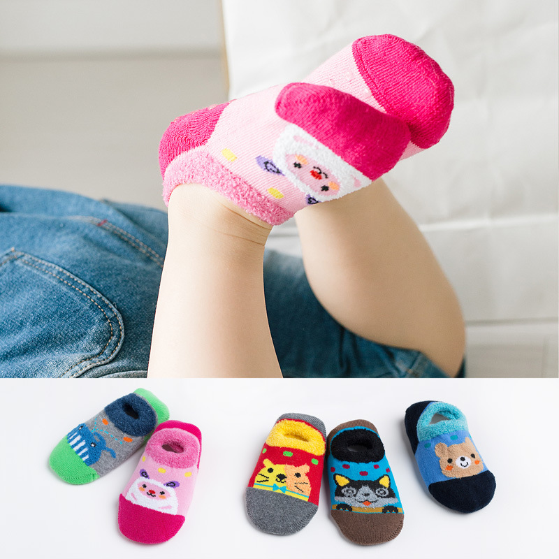 Cute Glue Anti-slip Baby No-show Socks Autumn And Winter Cartoon Children Short Socks Towel Socks CHILDREN'S Socks