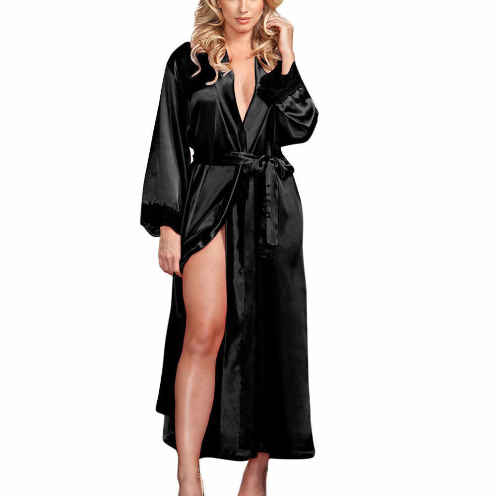 Women Sexy Robes Long Silk Dressing Gown Babydoll Lace Lingerie Bath Robe Sleepwear Lingerie Temptation Nightdress Nightwear