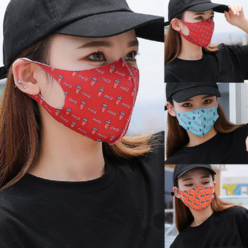 Camo Daisy Cola Fanta Sprite Strawberry Printed Women Mouth Mask Fashion Reusable Face Shield UV Protection Face Mask Wholesale image