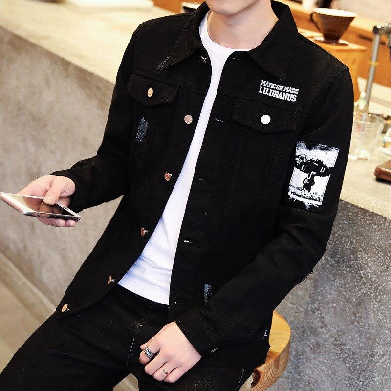 Spring Autumn 2020 Casual Streetwear Men's Korean Trendy Jacket Youth Slim Handsome Clothes Men's Black Denim Jacket