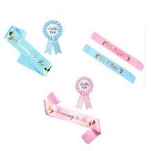 Ceinture de cérémonie pour fête prénatale maman To Be, sangle d'épaule, châle bleu/rose, fournitures de fête de premier anniversaire pour garçon/fille