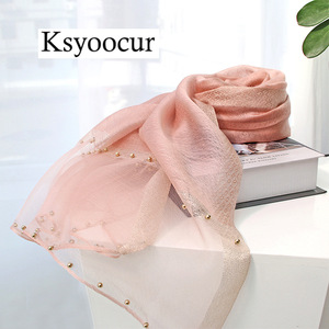 Image 3 - Size 180*90cm 2020 New Silk Scarves Beach Towel Scarf Female Four Seasons Shawls and Scarves Women Scarf Brand Ksyoocur E11