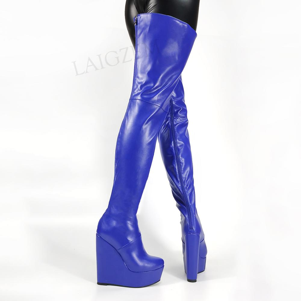 LAIGZEM Trendy Women Thigh High Boots Wedges Full Zip Up Heeled Boots Over Knee Frauen Stiefel Shoes Woman Size 39 42 47 50 52