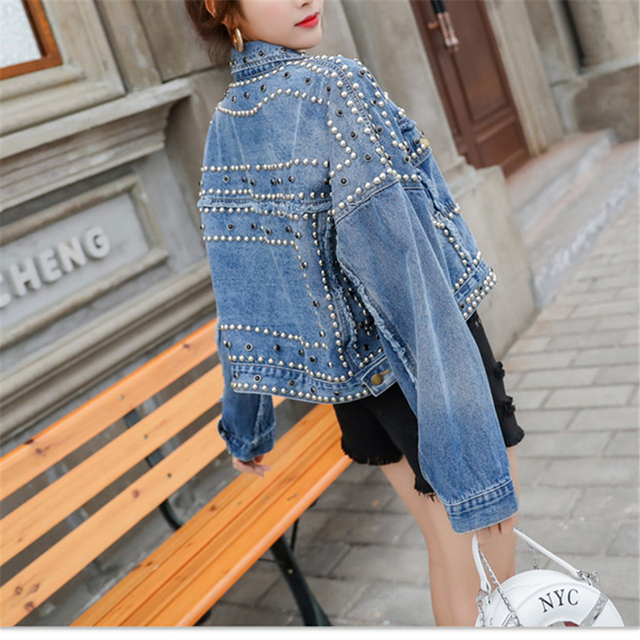 2019 płaszcze i kurtki kurtka dżinsowa dla kobiet kobiet Streetwear płaszcz w koreańskim stylu oversize zgrywanie Jean Studded Denim Pearl kurtka dżinsowa