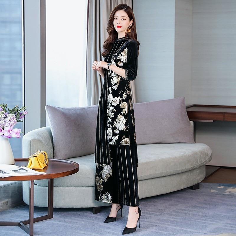 Top Quality Women Elegant Spring Velvet Floral Print Two Piece Sets Pullover Long T-Shirts Elastic Waist Wide Leg Pant Plus Size