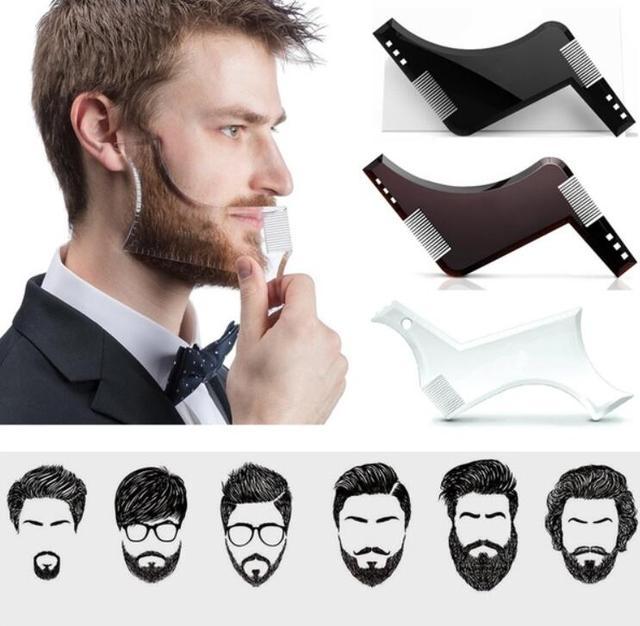 2019 男性のひげテンプレートstylingtool両面ひげ整形コーム美容ツールシェービング脱毛カミソリツール男性のための