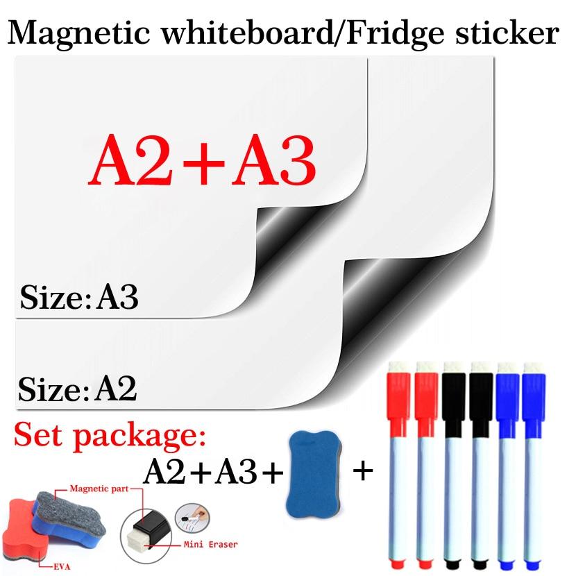 2PCS Magnetic Whiteboard Dry Erase Board White Board Flexible Pad Magnet Fridge For Home Office Kitchen School Message Board