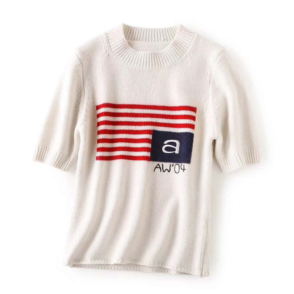 2020 Spring Summer Women Striped Letter Logo Embroidered Short Sleeve T-shirt Top A2
