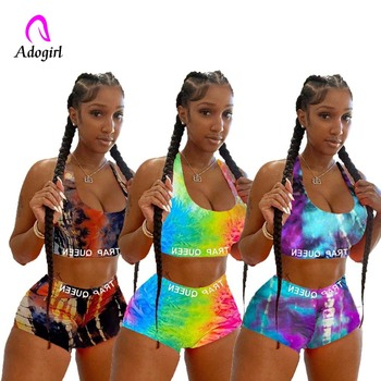 Tie Dye Women Two Piece Set Summer Casual Crop Top and Biker Shorts Sports Wear Sexy Sleeveless Tank Top Plus Shorts Suit S-2xl plus size low cut tie dye tank top