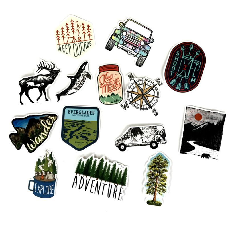 65pcs Outdoor Adventure Stickers for Refrigerator Car Styling font b Bike b font Motorcycle X6HC