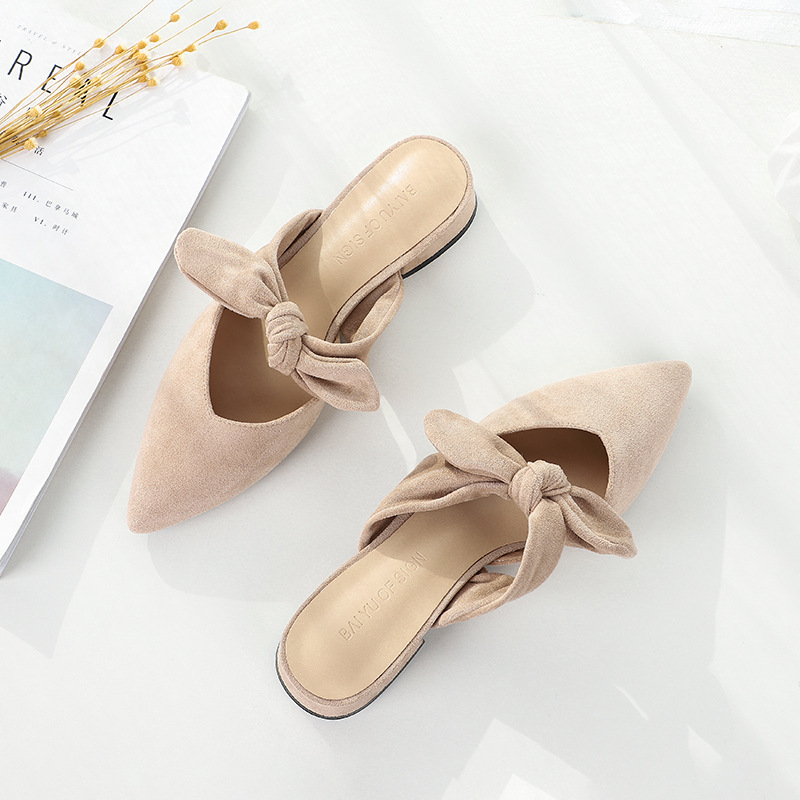 Image 4 - New 2020 Shoes Woman Summer Slippers Women Sandals Flats Shoes Ladies Flock Butterfly Knot Casual Beach Outdoor Elegant SlidesLow Heels   -