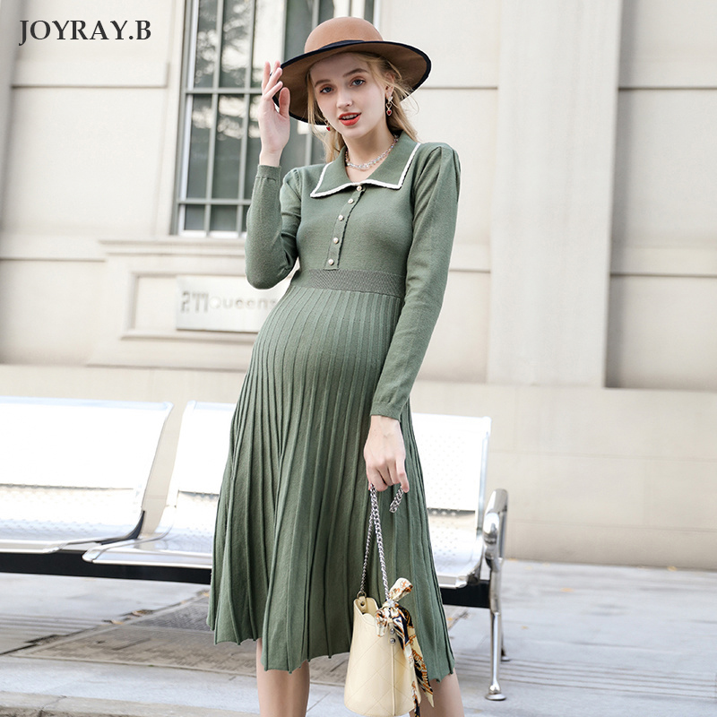 Maternity Dress 2019 Pregnancy Shirt Over The Knee Knit Dress Autumn And Winter Skirt Maternity Dresses JoyRay.B