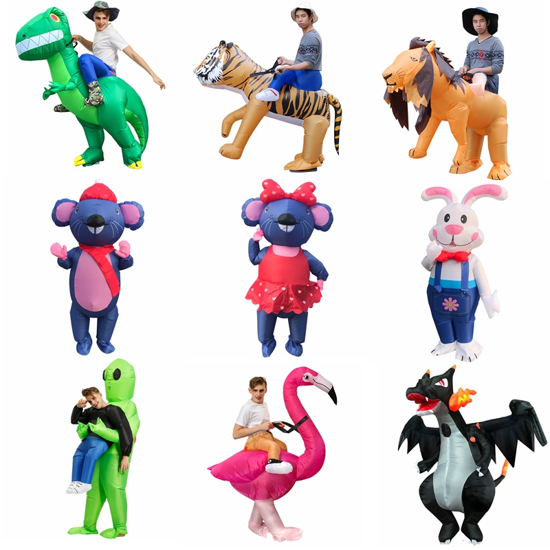 Adult Holloween Cosplay Inflatable Costumes Animals Alien Flamingo Dinosaur T-Rex Disfraz Funny Party Role Play Wedding Clothing