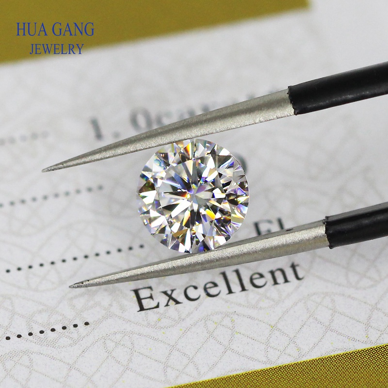 Moissanite 2 Carat D Color 8mm Round Brilliant Cut Loose Moissanite Stone VVS1 Excellent Cut Grade Test Positive Lab Diamond image