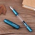 Nova moonman t1 acrílico azul metal pistão caneta fonte liga de alumínio fino nib 0.5mm caneta de tinta de grande capacidade para escritório de negócios