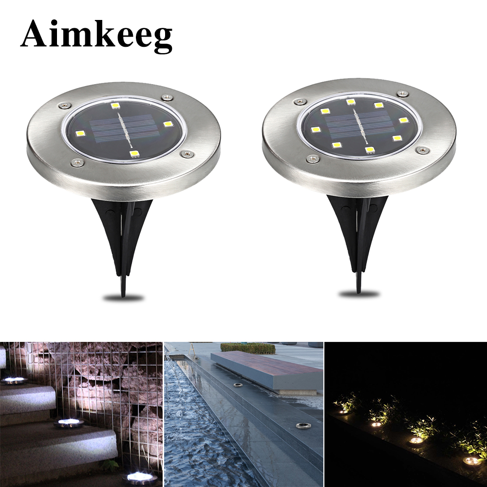 Aimkeeg 1PC IP65 Waterproof Solar Power Buried Light Lawn Lamp Outdoor Road Stairs Decking Light With Light Sensor