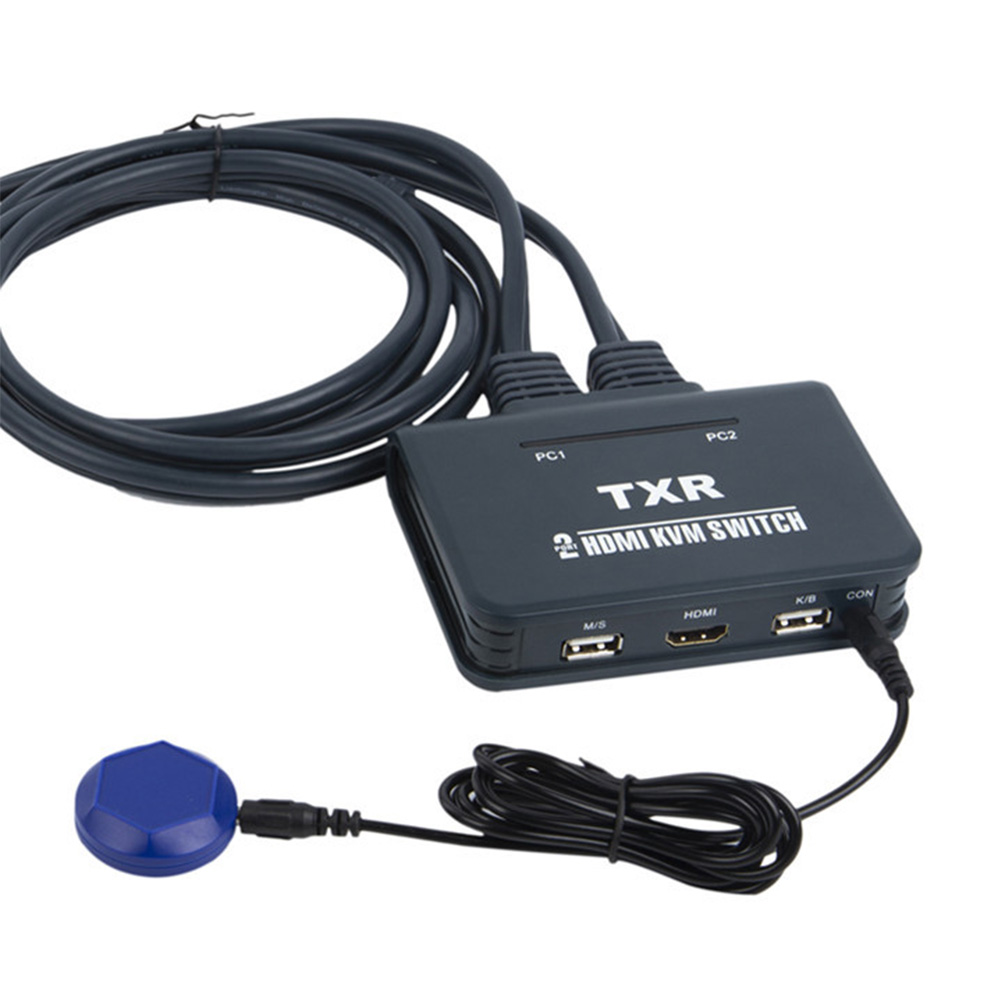 2 Port KVM Switch Desktop Controller Dual Monitor TV Projector Button Accessories USB With Cables Computer HDMI Splitter Box