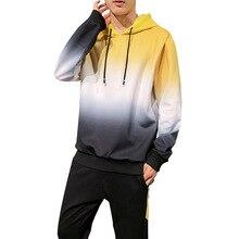 AmberHeard ผู้ชายชุดกีฬาฤดูใบไม้ผลิฤดูใบไม้ร่วง Hooded เสื้อ + กางเกงชุดสูทเหงื่อ Gradient 2 ชิ้นสำหรับผู้ชายเสื้อผ้า