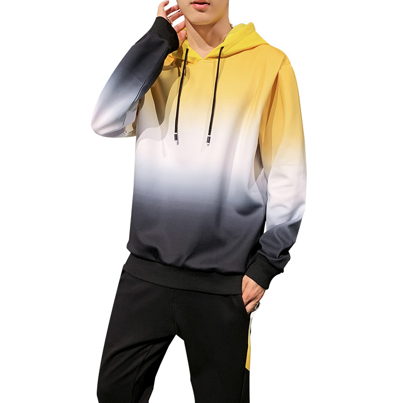AmberHeard Men's Sport Suit Spring Autumn Hooded Sweatshirts+Pants Sweat Suit Gradient Two Piece Set Tracksuit For Men Clothing
