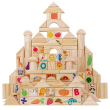 110pcs Early Education Color Building Blocks With Letters And Numbers Children's Diy Geometric Assemble Safety Solid Wood Toys