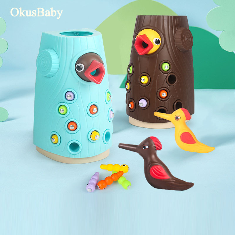 Family Toys Woodpecker Magnetic Catch The Worm Animal Feeding Game Small Birds Children Educate Fishing Toys Kit Kids Gift Set